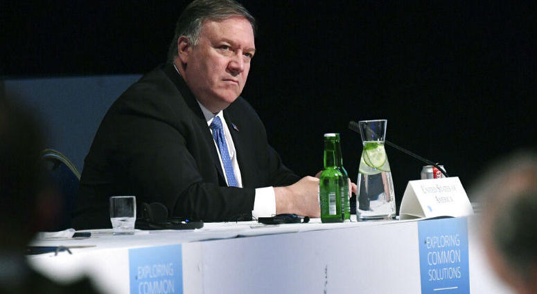 US Secretary of State Mike Pompeo takes part in the 11th Ministerial Meeting of the Arctic Council in Rovaniemi, Finland.