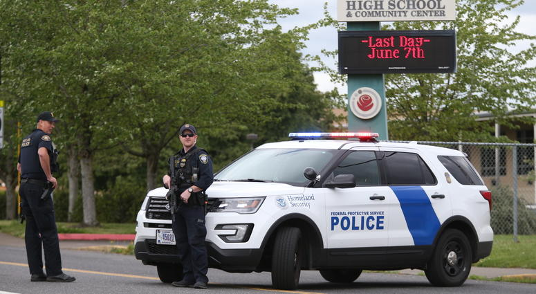 Police outside Parkrose High School