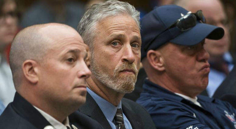 Entertainer and activist Jon Stewart lends his support to firefighters, first responders and survivors of the September 11 terror attacks at a hearing by the House Judiciary Committee as it considers permanent authorization of the Victim Compensation Fund