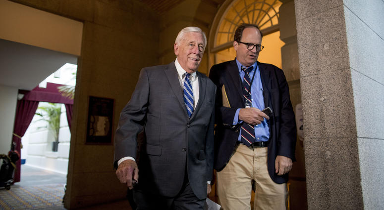 House Majority Leader Steny Hoyer of Md., left, arrives for a House Democratic caucus meeting on Capitol Hill in Washington, Wednesday, July 10, 2019.