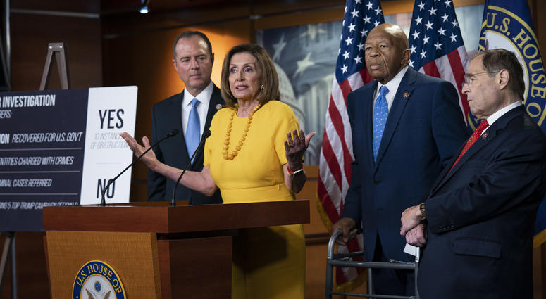 From left: Adam Schiff, D-Calif., Nancy Pelosi, D-Calif., Elijah Cummings, D-Md., and Jerrold Nadler, D-N.Y., hold a news conference after the back-to-back hearings with former special counsel Robert Mueller.