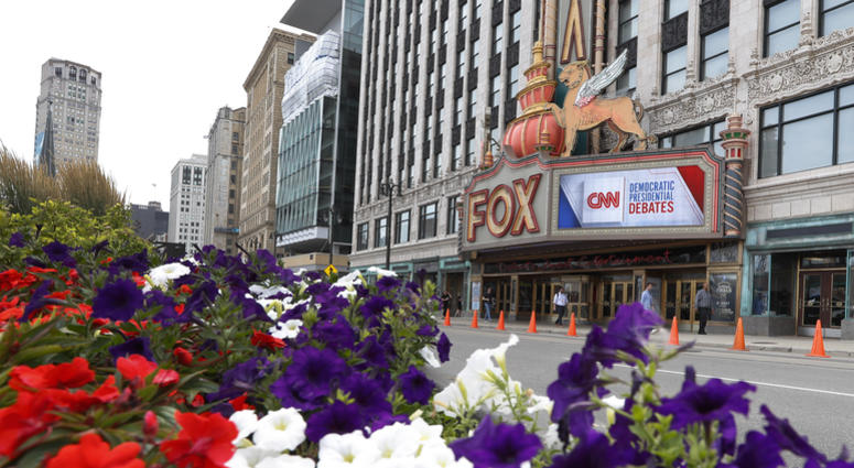 The Fox Theatre displays signs for the Democratic presidential debates in Detroit, Monday, July 29, 2019. The second scheduled debate will be hosted by CNN on July 30 and 31.