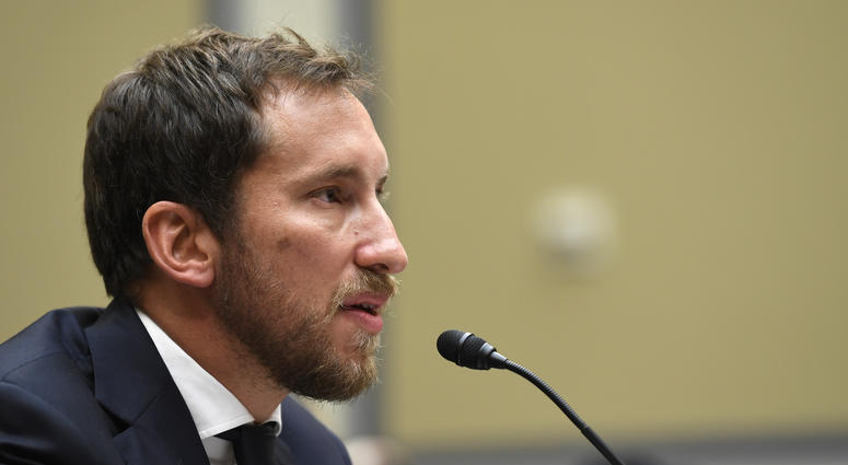 In this July 25, 2019, file photo, JUUL Labs co-founder and Chief Product Officer James Monsees testifies before a House Oversight and Government Reform subcommittee on Capitol Hill in Washington.