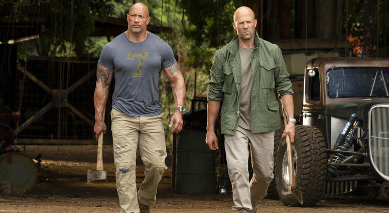 """This image released by Universal Pictures shows Dwayne Johnson, left, and Jason Statham in a scene from """"Fast & Furious Presents: Hobbs & Shaw."""""""