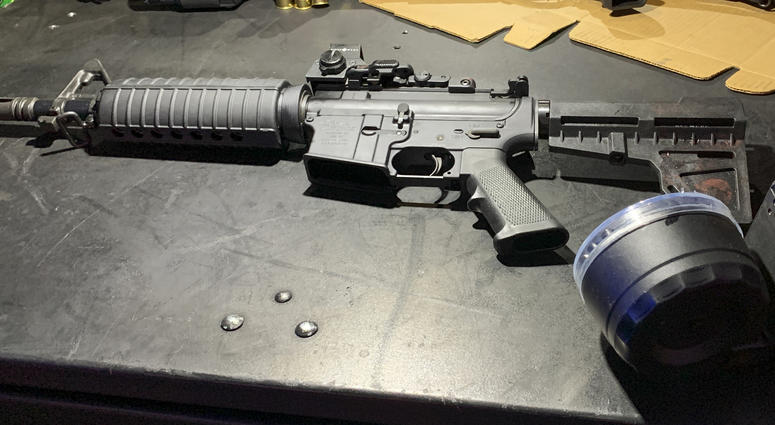 This August 2019 photo provided by the Dayton Police Department shows the firearm used by Connor Betts in a mass shooting in a popular entertainment district on Aug. 4, 2019, in Dayton, Ohio.