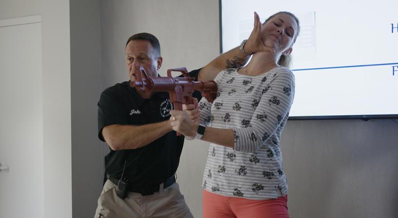 Gun safety defense demonstration