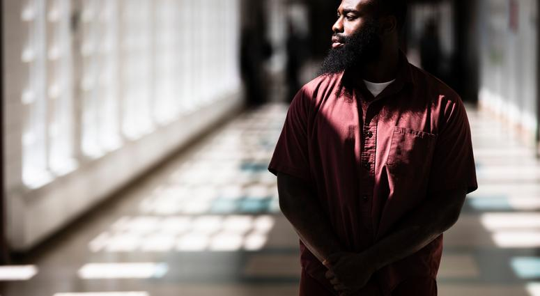 Incarcerated filmmaker Robert poses for a portrait at the State Correctional Institution in Chester, Pa.