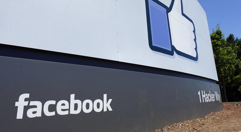 A sign at Facebook headquarters in Menlo Park, Calif.