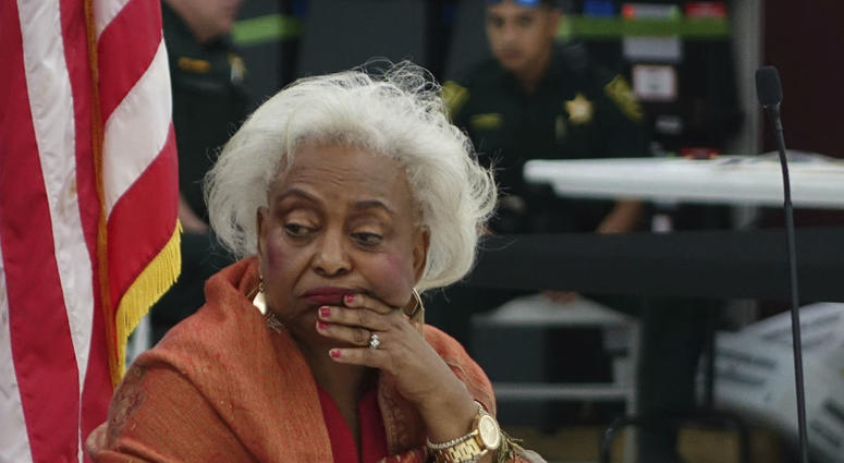 Broward County Supervisor of Elections Brenda Snipes listens to reports Sunday, Nov. 18, 2018, at the Broward Supervisor of Elections office in Lauderhill, Fla.