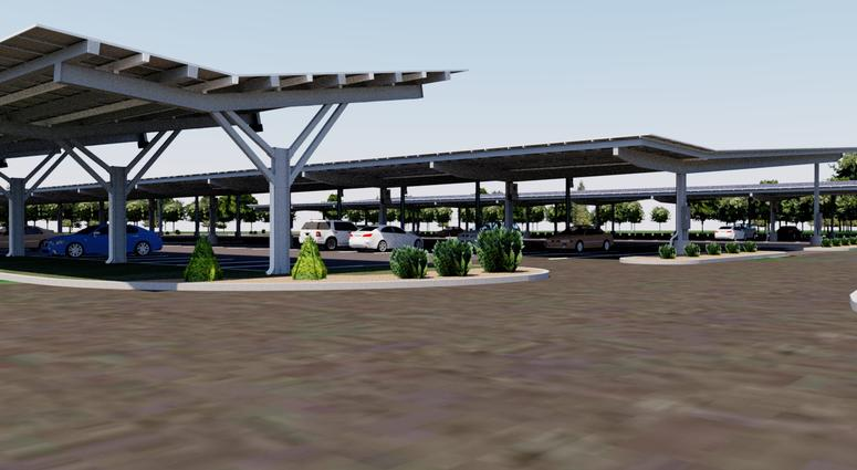 A rendering of PATCO's solar parking canopies