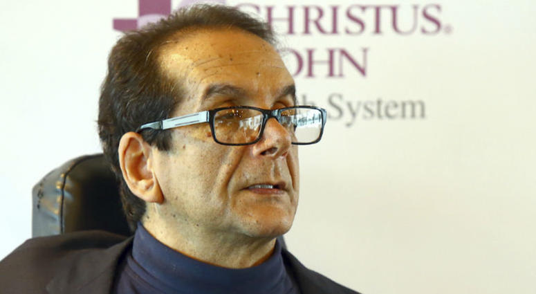 In this March 31, 2015 file photo, Charles Krauthammer talks about getting into politics during a news conference in Corpus Christi, Texas.