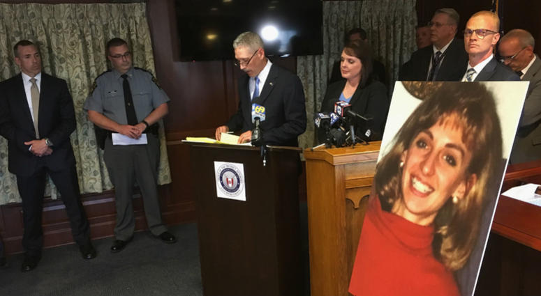 Lancaster County District Attorney Craig Stedman announces charges in a 1992 cold case killing during a news conference at the Lancaster County Courthouse in Lancaster, Pa., Monday, June 25, 2018.
