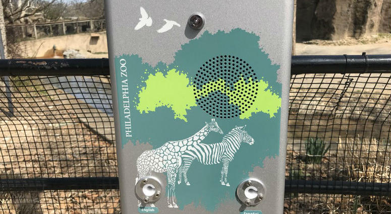 Visitors to the Philadelphia Zoo can use a zoo key to unlock audio story books from these book boxes.