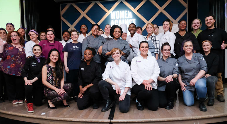 This photo shows chefs from 2018's Women Against Abuse Dish It Up cooking competition.