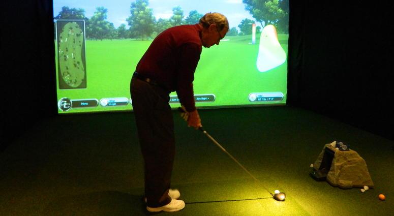 A golf simulator at Linfield National Golf Club.