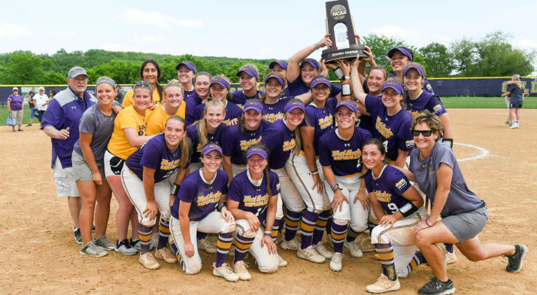 West Chester University celebrates winning the Atlantic Regional of the NCAA Division II Softball Tournament.