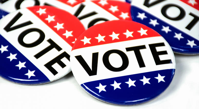 close up of campaign voting flag pins on white
