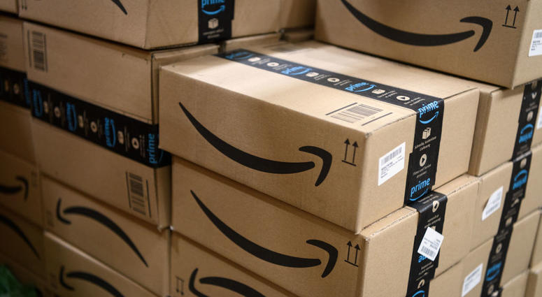 """Items in """"Amazon Prime"""" branded packaging are seen at the Amazon Fulfillment Centre on November 14, 2018 in Hemel Hempstead, England."""