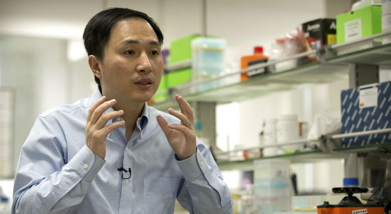In this Oct. 10, 2018 photo, He Jiankui speaks during an interview at a laboratory in Shenzhen in southern China's Guangdong province.