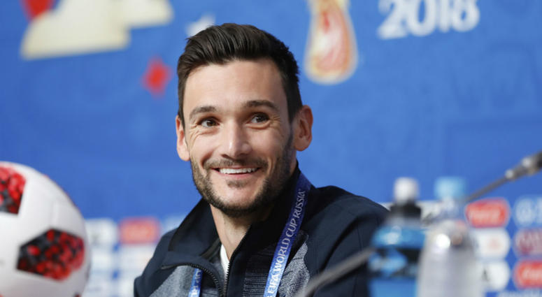 France goalkeeper Hugo Lloris smiles as he answers to journalists during a press conference at the eve of their semi-final against Belgium at the 2018 soccer World Cup in St. Petersburg, Russia, Monday, July 9, 2018.