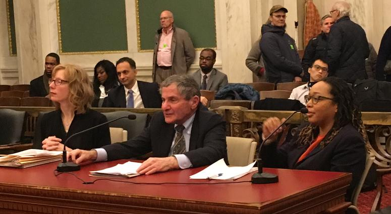 Public interest attornies and advocates testified in support of the bills. From left, Colleen McCauley of PCCY, George Gould of CLS and Karla Cruel of TURN