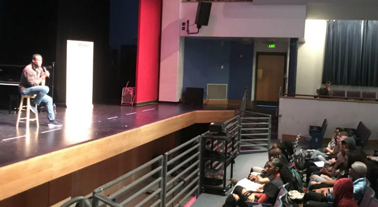 A professional actor from Philadelphia returned to his high-school alma-mater to talk to kids about fame versus fortune among other things.