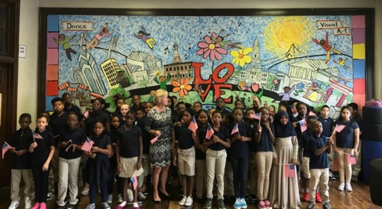 Judge Marjorie Rendell with students at E. M. Stanton Elementary School