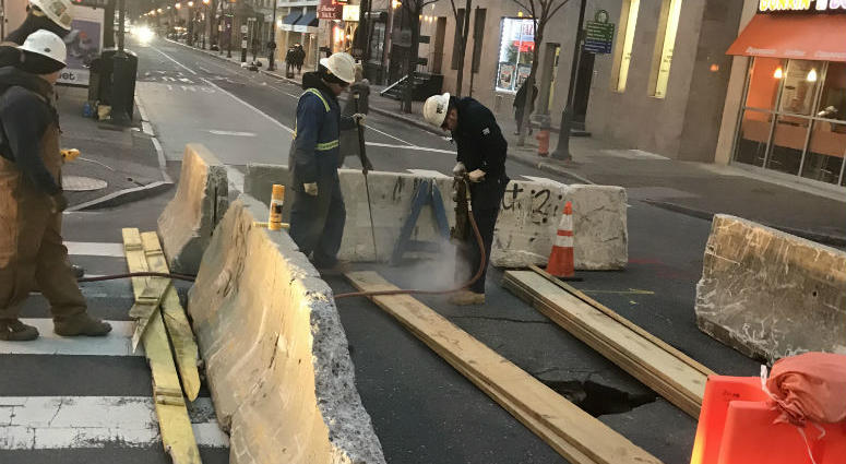 Crews are on the scene after a sinkhole forms in Center City.