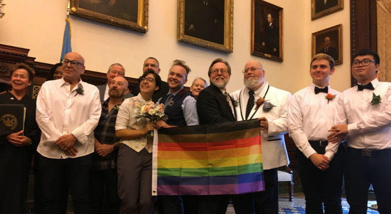 City Hall celebrated love Thursday with a handful of LGBTQ marriages and vow renewals led by Mayor Jim Kenney.