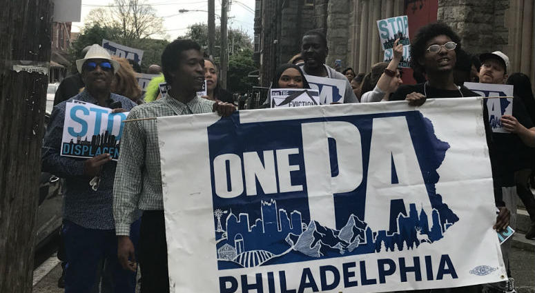 North Philadelphia community members took to the streets to protest a number of injustices done by realty groups and renters in their neighborhood.