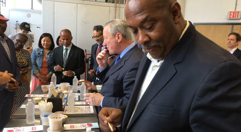 Mayor Jim Kenney and Rep. Dwight Evans visited the headquarters of Little Baby's Ice Cream, which is one of many local start-ups that have been nurtured through a Goldman Sachs program called 10,000 Small Businesses.