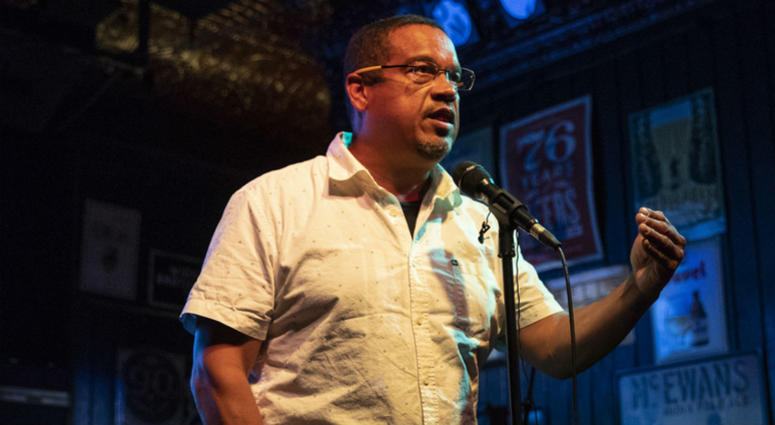 Rep. Keith Ellison speaks to supporters after winning the Democratic nomination for Attorney General during his primary party at Nomad World Pub, Tuesday, Aug. 14, 2018, in Minneapolis.