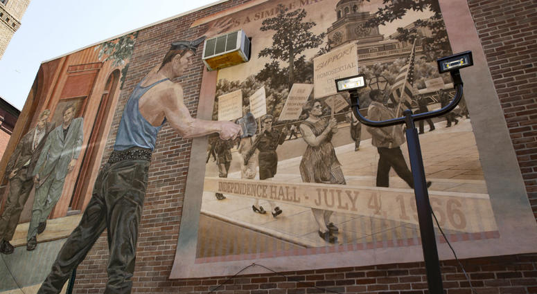 """Detail of the """"Pride and Progress"""" mural by Ann Northrup, covering the west wall of the William Way Center LGBT Community Center in Philadelphia"""
