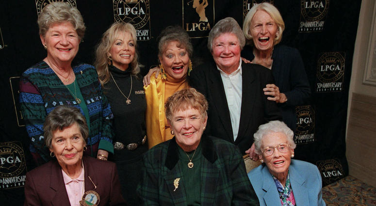 In this Oct. 19, 1999, file photo, eight founders of the Ladies Professional Golf Association (LPGA) pose at a celebration of the association's 50th anniversary in New York.
