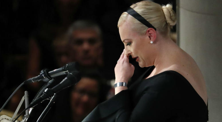 Meghan McCain speaks at a memorial service for her father, Sen. John McCain, R-Ariz., at Washington Nationals Cathedral in Washington, Saturday, Sept. 1, 2018. McCain died Aug. 25, from brain cancer at age 81.
