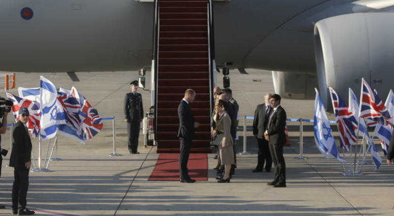 Britain's Prince William arrives on a Royal Air Force plane at the Ben Gurion airport in Tel Aviv, Israel, Monday, June 25, 2018.