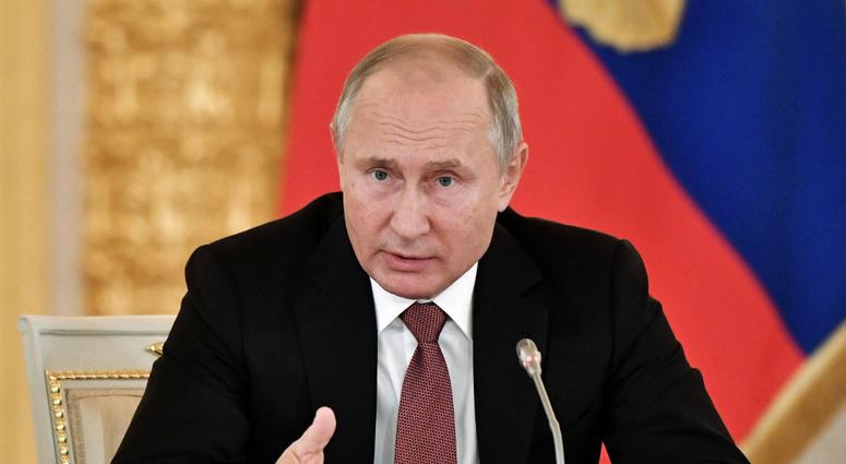 Russian President Vladimir Putin speaks during a meeting in Moscow's Kremlin, Russia, Tuesday, Nov. 27, 2018.