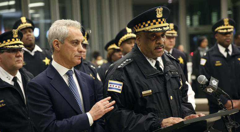 Chicago Mayor Rahm Emanuel, left, comforts Chicago Police Superintendent Eddie Johnson, Monday, Nov. 19, 2018, during a news conference at the University of Chicago Medical Center.
