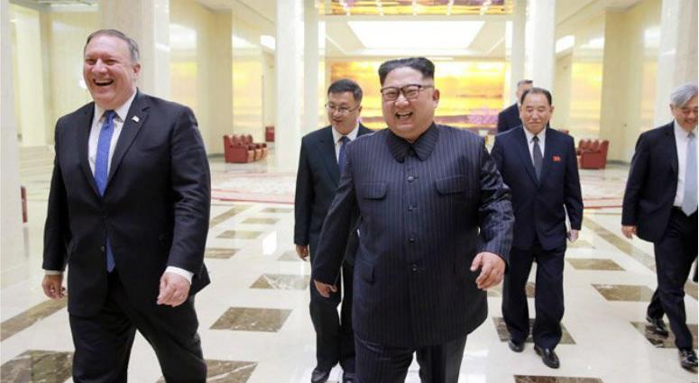 Mike Pompeo and Kim Jong Un