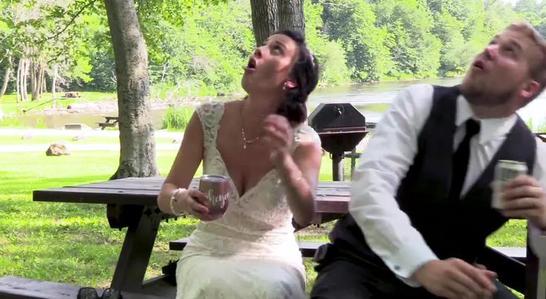 Newlyweds Escape Falling Tree Branch