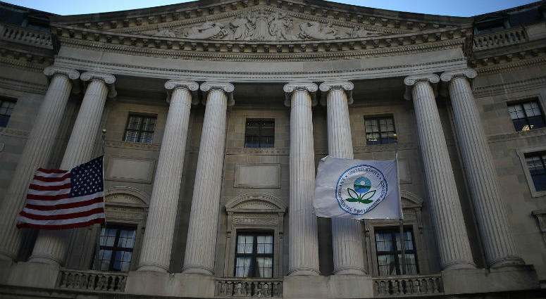 A view of the U.S. Environmental Protection Agency (EPA) headquarters on March 16, 2017 in Washington, DC. U.S. President Donald Trump's proposed budget for 2018 seeks to cut the EPA's budget by 31 percent from $8.1 billion to $5.7 billion.