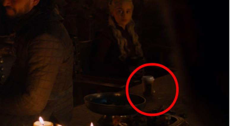 A coffee cup on a table in the great hall of Winterfell in the fictional, very coffee-less realm of Westeros.