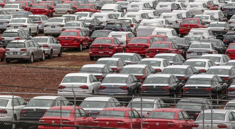 View of cars at the Volkswagen plant in Puebla, Mexico, on August 27, 2018.