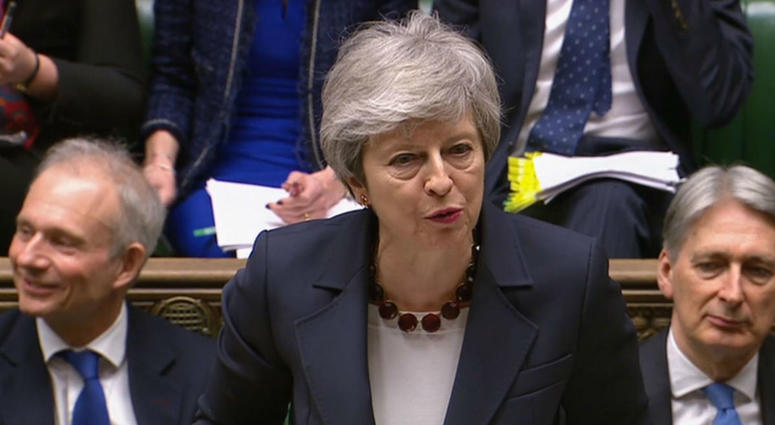 Prime Minister Theresa May speaks during Prime Minister's Questions in the House of Commons, London.