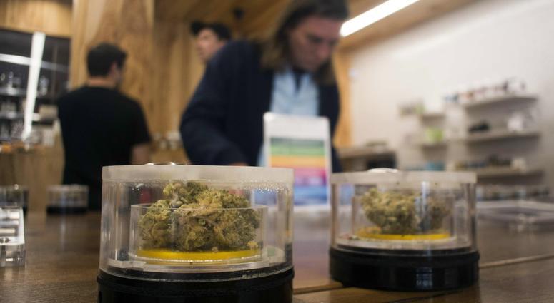Marijuana samples on display at MedMen in West Hollywood, California, Jan. 2, 2018. On Jan. 1, it became legal in California to sell recreational marijuana, but many shops began sales on Jan. 2.