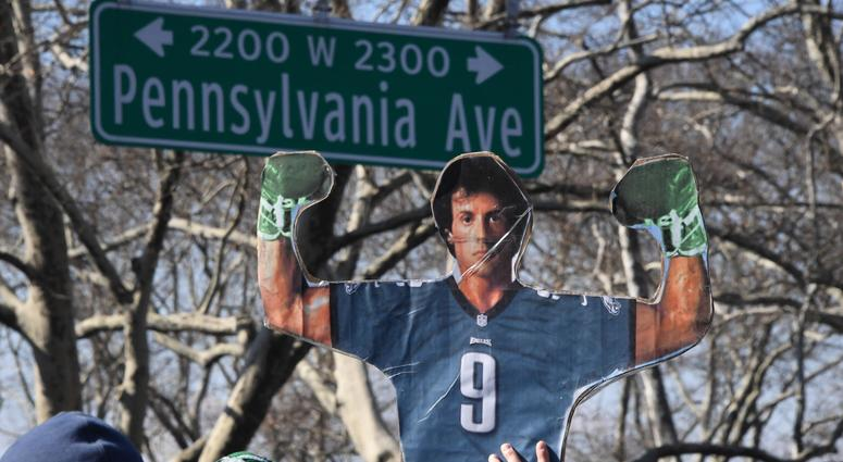 Feb 8, 2018; Philadelphia, PA, USA; A cutout of Sylvester Stallone in a Philadelphia Eagles jersey during Super Bowl LII champions parade.
