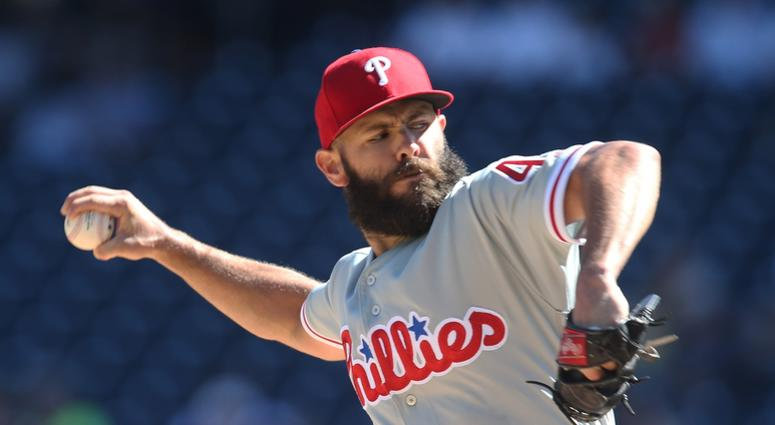Philadelphia Phillies starting pitcher Jake Arrieta (49) delivers a pitch against the Pittsburgh Pirates during the first inning at PNC Park.