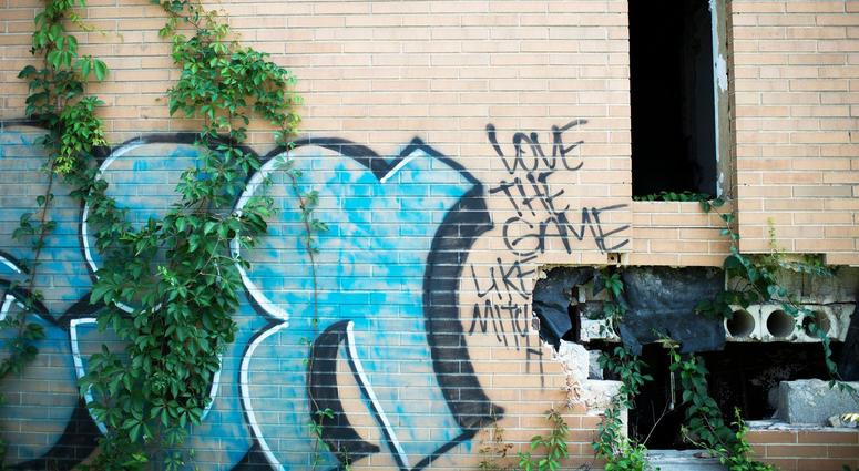 Graffiti covers the walls of crumbling buildings at the Camden Labs site, Aug. 15, 2018. The former toxic and illegal dumping site will be cleaned and cleared to make way for recreational open space.