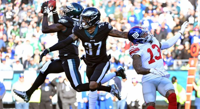Nov 25, 2018; Philadelphia, PA, USA; Philadelphia Eagles strong safety Malcolm Jenkins (27) intercepts pass intended for New York Giants wide receiver Odell Beckham (13) during the second quarter at Lincoln Financial Field.