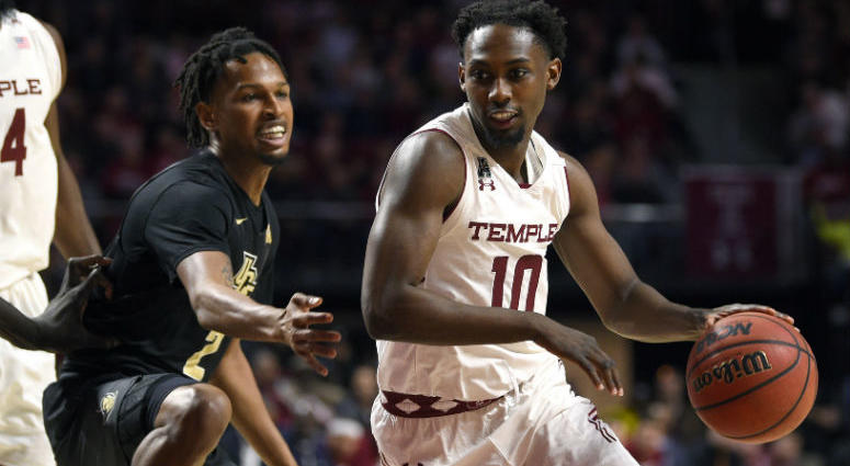 Mar 9, 2019; Philadelphia, PA, USA; Temple Owls guard Shizz Alston Jr. (10) dribbles past UCF Knights guard Terrell Allen (2) during the first half at Liacouras Center.